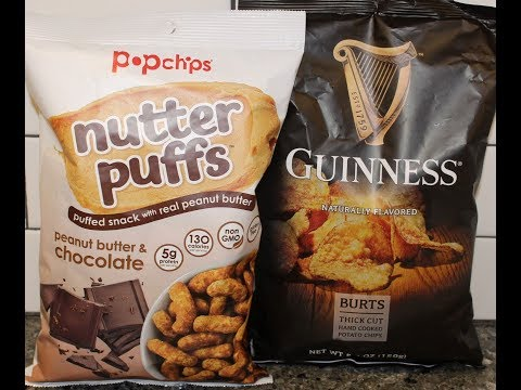 Popchips Nutter Puffs Peanut Butter & Chocolate and Guinness Burts Potato Chips Review