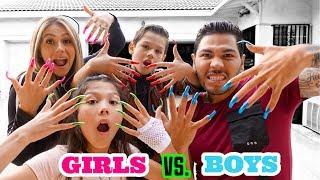 Wearing Super Long Acrylic Nails For A Day **GIRLS vs. BOYS** | Familia Diamond