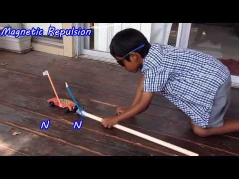 Magnetism experiment - Cool Magnet Trick by a kid to Move a Car!