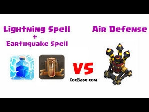 Destroying Air defense with lightning & earthquake spell! Clash of Clans