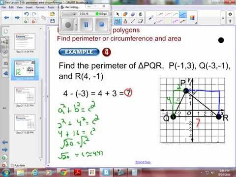 Geometry 1-6 Example 4:   Perimeter and Area on the Coordinate Plane