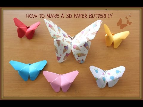 How to make an easy 3D paper BUTTERFLY  (Kirigami Style) DIY