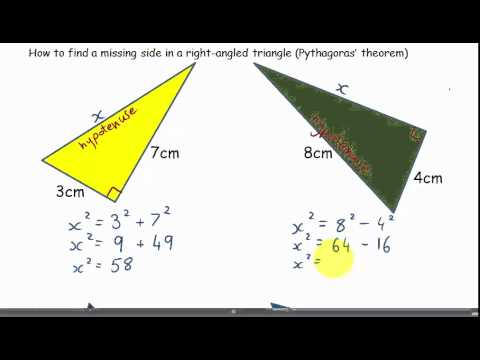 how to find a missing side in a right-angled triangle(Pythagoras' theorem)