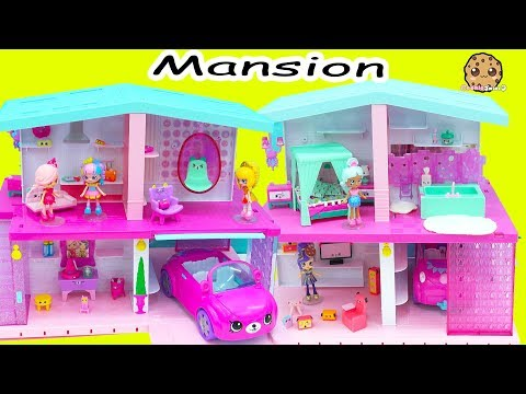 Shopkins Shoppies Happy Places Dream House Mansion with Car Garage + Surprise Blind Bags