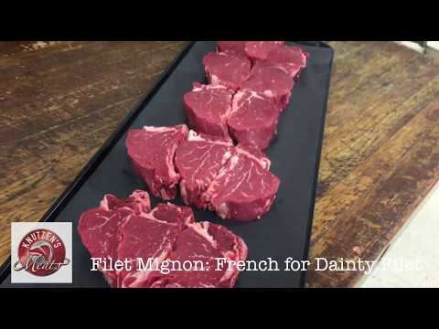 Cutting up a Filet Mignon at Knutzens Meats