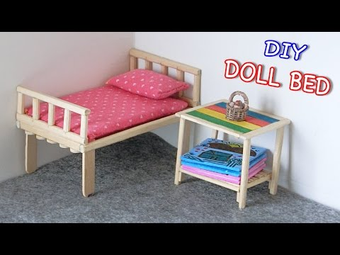 DIY Miniature Doll Bed from Chopsticks - Creative Crafts ideas