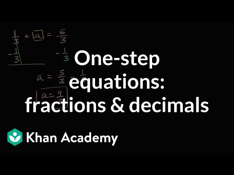 How to solve one-step equations with fractions and decimals | 6th grade | Khan Academy