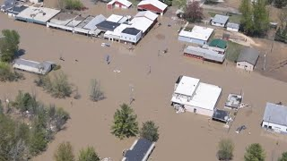 RAW: Aerials of massive flooding in Midland, Michigan after dams breached