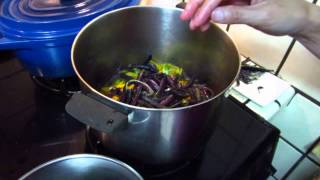 Cooking - purple beans and stir fry salad