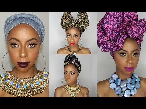 4 Different ways to tie a headwrap/ turban || Jessica Pettway