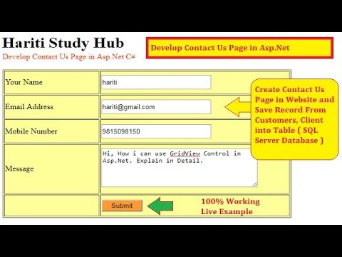 Create Contact Us Page Using Asp.Net C# | Hindi | Free Online Classes For Learning Asp.Net