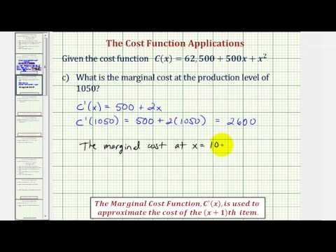 Ex 1: Cost Function Applications - Marginal Cost, Average Cost, Minimum Average Cost
