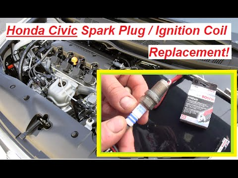 Honda Civic Spark Plugs / Ignition Coil Replacement 2006 - 2011 in 2 MINUTES! Civic 1.8