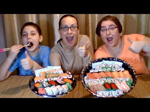 2 Trays Sushi | Gay Family Mukbang (먹방) - Eating Show