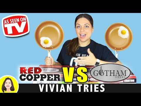 RED COPPER vs GOTHAM STEEL COPPER PAN REVIEW   TESTING AS SEEN ON TV PRODUCTS
