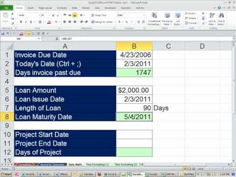 Office 2010 Class #30: Excel Date Formulas: Days Invoice Past Due, Loan Maturity Date, Project Days