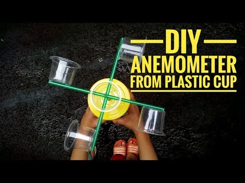 DIY ANEMOMETER FROM PLASTIC CUP | MEMBUAT ALAT UKUR KECEPATAN ANGIN DARI GELAS PLASTIK