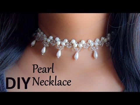 Beautiful pearl choker necklace | DIY | jewelry making |Beads art