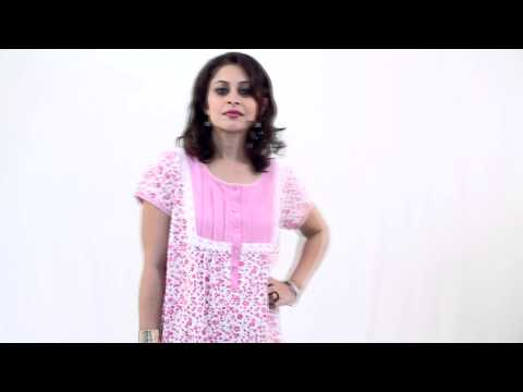 Kriti light pink nighty with floral print