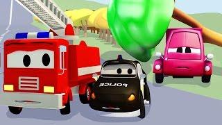 La Super Patrulla: camión de bomberos y patrulla de policía en el accidente de Susy | Dibujos