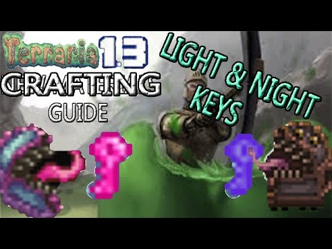 Terraria 1.3 Crafting Guide!: KEY OF LIGHT & NIGHT! SPAWN HALLOWED & CRIMSON MIMICS!