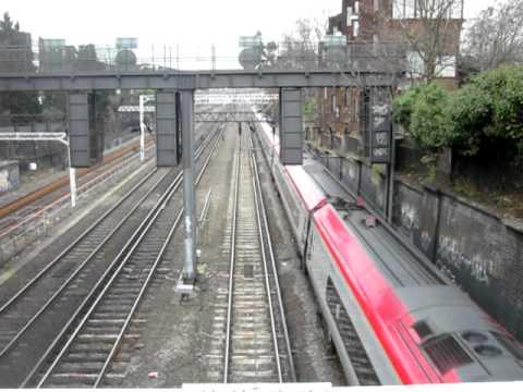 Class 390 Pendolino descends towards Euston through Camden