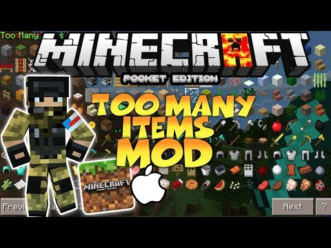 MINECRAFT PE 1.1.5 TOOMANY ITEMS MOD FOR IOS AND ANDROID - HOW TO INSTALL TOOMANY ITEMS MOD FOR MCPE