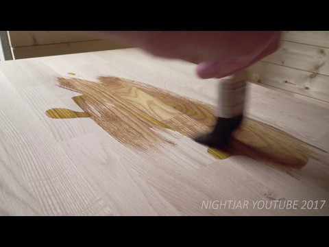 Oiling Oak Kitchen RAW Linseed oil In the Shipping Container Tiny House