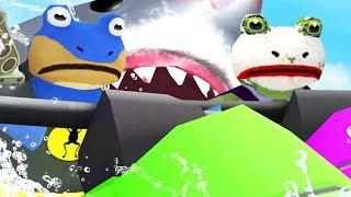 BAT FROG & JOKE FROG TEAM UP AGAINST THE GIANT SHARK! - Amazing Frog - Part 116 | Pungence