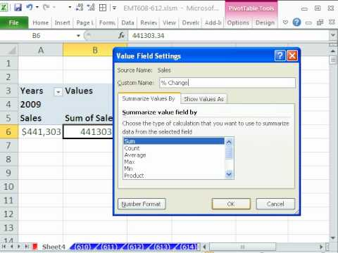 Excel Magic Trick 610: Pivot Table Year Over Year Sales Calculation From Daily Transactional Data
