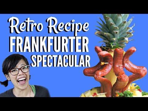 FRANKFURTER SPECTACULAR pineapple & hot dog centerpiece Weight Watchers 1970 | Weenies Retro Edition