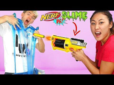 NERF GUN VS SLIME!! (DIY NERF SLIME)