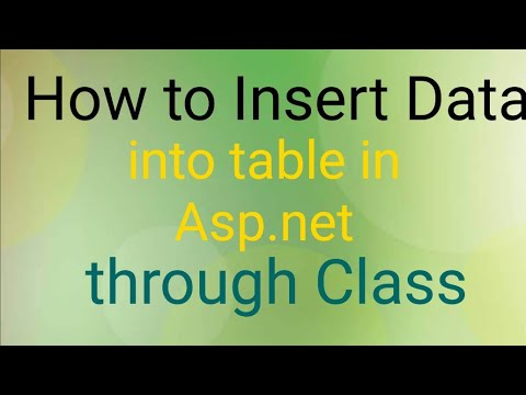 How to insert data into sql through Class in asp.net c#|Method to insert data into table in asp.net