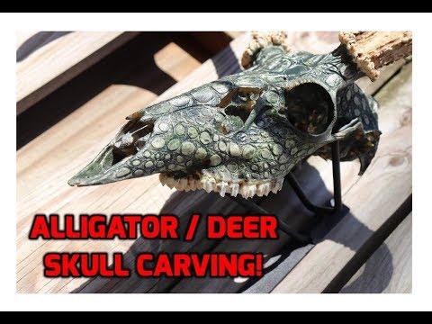 Alligator Scales Carved on Deer Skull!