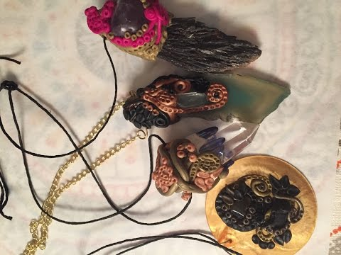 How to Make a Polymer Clay Crystal Pendant | Intricate design