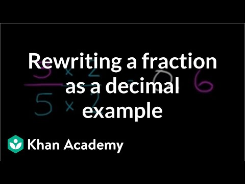 Basic example of rewriting a fraction as a decimal | Decimals | Pre-Algebra | Khan Academy