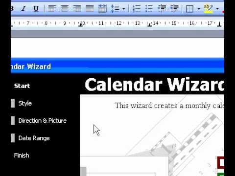 Microsoft Office Word 2003 Create a calendar