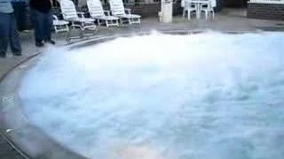 Pouring big chunk of sodium the pool - Explosion!