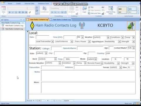 Free Ham Amateur Radio Call Log Database App Microsoft Office Access