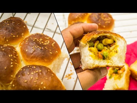 Stuffed Buns Recipe | Surprise Inside Ladi Pav Bread Feather Soft Recipe | Eggless Baking