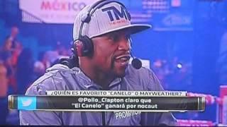 Julio César Chávz entrevista a Floyd Mayweather jr en la Ceremonia de pesaje Canelo vs Mayweather jr