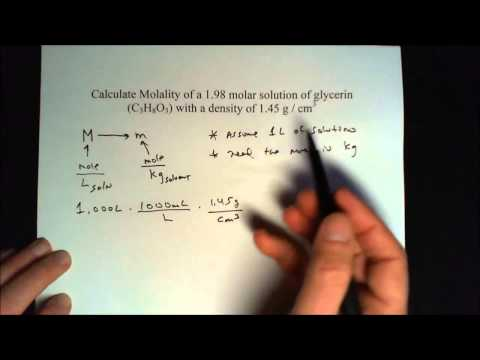 Convert Molarity to molality of a glycerin solution How to from M to m - Worked out problem(s).