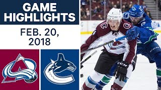 NHL Game Highlights | Avalanche vs. Canucks - Feb. 20, 2018