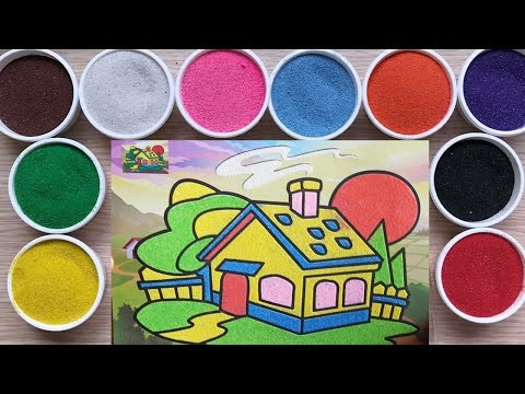 Colorful Sand painting art colofor Kids /w How to make sand painting Dream house in the future