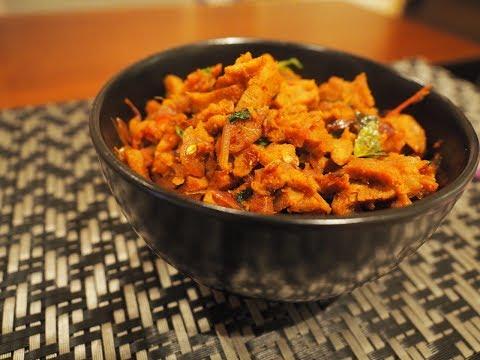 Spicy Soya Stir Fry- dry roast- ularthiyadhu- vegan mock meat recipe