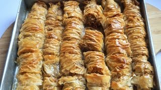 Rolled Turkish Baklava- Easy Homemade Baklava Recipe - Fatemahisokay