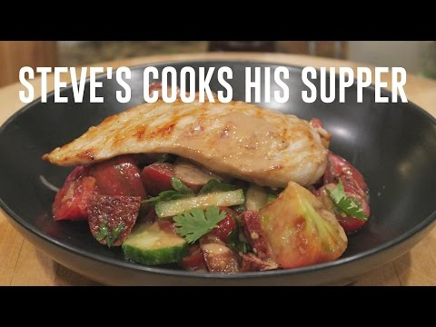 GRILLED CHICKEN WITH TOMATO, CHORIZO SALAD & TAHINI | Steve's Suppers