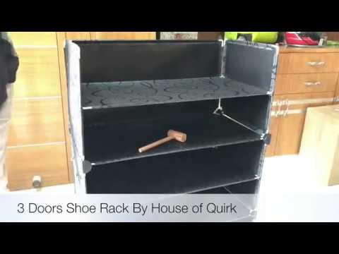 DIY 3 Doors Shoe Rack Storage Organizer