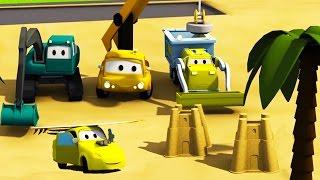 Equipo Constructor: Camión Volquete, la Grúa y la Excavadora construyen una Playa Autocity | Dibujos