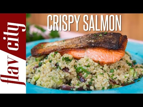 Crispy Salmon Recipe -  Crispy Skin Salmon - FlavCity with Bobby